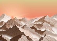 Wektorowa ilustracja góra krajobraz z wschodem słońca lub zmierzchem Brown falezy z mgłą royalty ilustracja