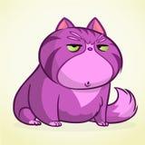 Wektorowa ilustracja gderliwy purpurowy kot Gruby kreskówka kot z gderliwym wyrażeniem Zdjęcia Royalty Free