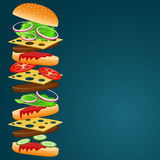Wektorowa ilustracja hamburgerów składniki Fotografia Stock