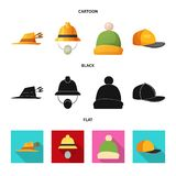 Wektorowa ilustracja headwear i nakrętki logo Kolekcja headwear i akcesorium akcyjna wektorowa ilustracja royalty ilustracja