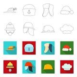 Wektorowa ilustracja headwear i nakrętki znak Set headwear i akcesorium akcyjna wektorowa ilustracja ilustracji