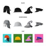 Wektorowa ilustracja headwear i nakrętki znak Set headwear i akcesorium akcyjna wektorowa ilustracja ilustracja wektor