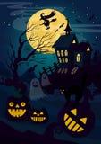 Wektorowa ilustracja horrorów lampiony i kot z czarownicy lataniem przy nocą domowi i dyniowi karciany Halloween royalty ilustracja