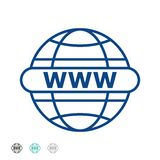 Wektorowa ilustracja iść sieci linii ikona Internetowy Www - internet ikona ikona internetu technologii komputerowych Iść sieć zn ilustracji
