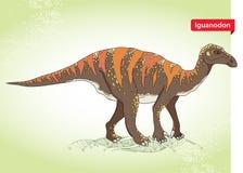 Wektorowa ilustracja iguanodon od genus ornithopod dinosaur na zielonym tle Obraz Stock