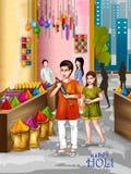 Wektorowa ilustracja Indiańscy ludzie bawić się kolorowego Szczęśliwego Hoil tło dla festiwalu kolory w India royalty ilustracja