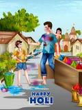 Wektorowa ilustracja Indiańscy ludzie bawić się kolorowego Szczęśliwego Hoil tło dla festiwalu kolory w India ilustracja wektor