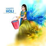 Wektorowa ilustracja Indiańscy ludzie bawić się kolorowego Szczęśliwego Hoil tło dla festiwalu kolory w India ilustracji