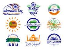 Wektorowa ilustracja India dzień niepodległości Felicitation powitania 15th august szablon dla sieci lub druku emblemata Zdjęcie Royalty Free