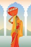 Wektorowa ilustracja Indiańska kobieta niesie dzbanek na jej hea Obrazy Stock