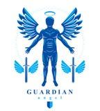 Wektorowa ilustracja istota ludzka, atleta zrobił używać aniołów skrzydła i Obraz Stock