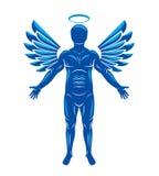 Wektorowa ilustracja istota ludzka, atleta zrobił używać aniołów skrzydła i Zdjęcia Royalty Free