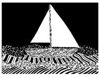 Wektorowa ilustracja jacht na dennych fala w grafika stylu ilustracja wektor