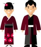 Wektorowa ilustracja japońska samiec i kobieta Obrazy Stock