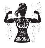 Wektorowa ilustracja jesteśmy dziewczynami i jesteśmy silni Zdjęcia Stock