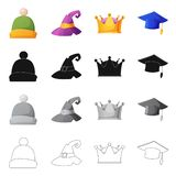 Wektorowa ilustracja kłobuku i nakrętki symbol Kolekcja kłobuku i akcesorium akcyjna wektorowa ilustracja royalty ilustracja