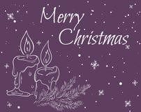 Wektorowa ilustracja kartka bożonarodzeniowa z konturem świeczki, gałąź choinka, etykietka i płatki śniegu, Może używać dla gre ilustracja wektor