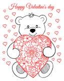 Wektorowa ilustracja, kartka z pozdrowieniami, valentines, miś z sercem Praca Robić wewnątrz ręcznie Książkowy kolorystyka stres  Fotografia Royalty Free