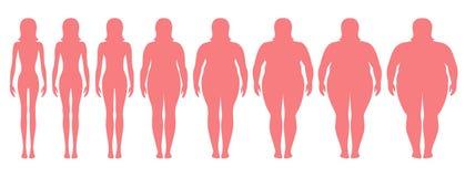 Wektorowa ilustracja kobiet sylwetki z różnym ciężarem od anorexia niezwykle otyły Royalty Ilustracja