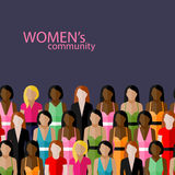 Wektorowa ilustracja kobiety społeczność z wielką grupą dziewczyny i kobiety feministyczny pojęcie ilustracja wektor