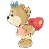Wektorowa ilustracja kochająca brown miś dziewczyna chuje za jej pluszowym czerwonym sercem i wokoło całować someone ilustracji