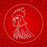 Wektorowa ilustracja kogut, symbol 2017 Sylwetka biały kogut, dekorujący z śniegiem i gwiazda czerwonymi wzorami chińczyk Fotografia Royalty Free