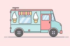 Wektorowa ilustracja kolorowa lody ciężarówka Boczny widok, Obrazy Stock