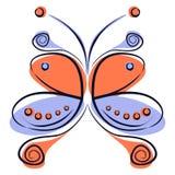Wektorowa ilustracja kolorowy czerwieni i błękita kreskówki motyl, Zdjęcia Stock
