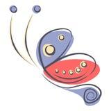 Wektorowa ilustracja kolorowy czerwieni i błękita kreskówki motyl na białym backgound, Zdjęcie Royalty Free