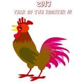 Wektorowa ilustracja kolorowy kogut 2017 nowy rok pojęcie Zodiaka chiński symbol obraz stock
