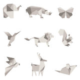 Wektorowa ilustracja koloru origami zwierzęta Zdjęcia Stock