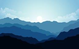 Wektorowa ilustracja, Krajobrazowy widok z zmierzchem, wschód słońca, niebo, chmury, halni szczyty i las dla strony internetowej  royalty ilustracja