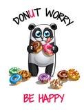 Wektorowa ilustracja kreskówki panda z donuts Zdjęcie Royalty Free