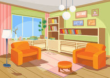 Wektorowa ilustracja kreskówki wnętrze pomarańczowy domowy pokój, żywy pokój z dwa miękkimi karłami ilustracji