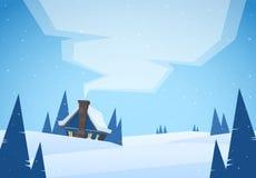 Wektorowa ilustracja: Kreskówki zimy bożych narodzeń krajobraz z domem i dym od kominu ilustracji