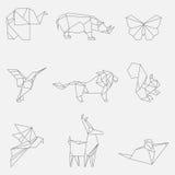 Wektorowa ilustracja kreskowi origami zwierzęta Zdjęcie Royalty Free