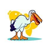 Wektorowa ilustracja kreskówka pelikan na białym tle Obraz Royalty Free