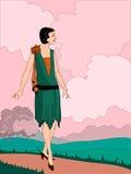 Wektorowa ilustracja lata dwudzieste stylów dziewczyna Zdjęcia Stock