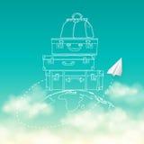Wektorowa ilustracja latać lotniczego samolot wokoło Zdjęcie Stock