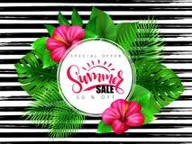 Wektorowa ilustracja lato sprzedaży sztandar z ręki literowania tekstem otaczającym z poślubnika kwiatem i tropikalnymi liśćmi - ilustracji