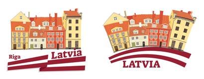 Wektorowa ilustracja latvian obywatel, tradycyjna architektura, flaga, budynek, dziedzictwo kulturowe i zwiedzający przedmiot, ilustracji