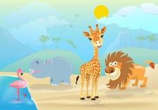Wektorowa ilustracja śliczni dżungli zwierzęta, rośliny i Zdjęcie Royalty Free