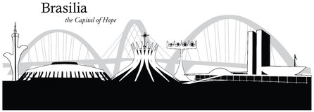 Wektorowa ilustracja linia horyzontu Brasilia, Brazylia Zdjęcie Stock