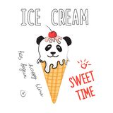 Wektorowa ilustracja lody w meme i komiczka projektujemy Chłodno majcher dla łaty, plakata, dzienniczka, laptopu lub smartphone, royalty ilustracja
