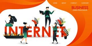 Wektorowa ilustracja lub strona internetowa z pomarańcze i kolorem żółtym grupa ludzi który komunikuje używać internet technologi ilustracji