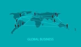 Wektorowa ilustracja ludzie biznesu stoi na światowym globalnym mapa kształcie infographic globalnego biznesu współpracy pojęcie Zdjęcie Royalty Free