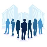 Wektorowa ilustracja ludzie biznesu sylwetek nad miasto nowożytnymi budynkami royalty ilustracja
