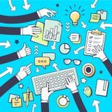 Wektorowa ilustracja ludzie komunikacyjni w pokoju konferencyjnym Fotografia Stock