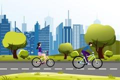 Wektorowa ilustracja ludzie mężczyzna i kobiety jazda na rowerowym pobliskim miasto parku nowoczesne miasto tła Kreskówka wektor ilustracja wektor