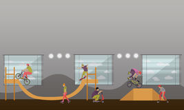 Wektorowa ilustracja ludzie na bicyklu, deskorolka, rolownikach i hulajnoga, Nastolatek robi sztuczkom, wyczyny kaskaderscy Łyżwo Zdjęcia Stock